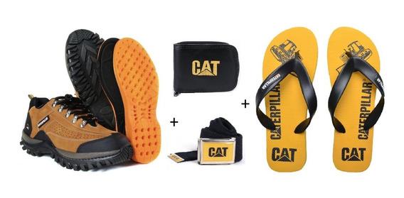 Kit Tenis Caterpillar Em Couro + Chinelo Cat + 2 Brindes