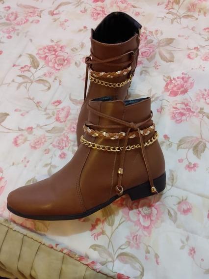 Bota Cano Curto Mega Boots Marrom - Usada Uma Unica Vez!
