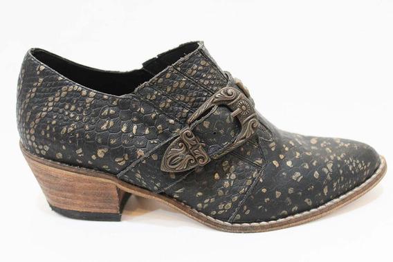 Zapato Texano Cuero Reptil Mujer Art 41. Marca San Marino