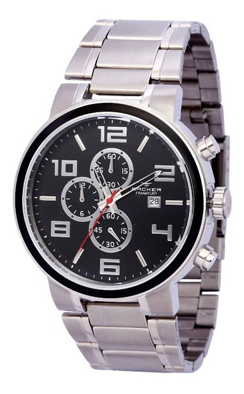 Relógio Backer Masculino 11004653m Pr Cronógrafo Prateado