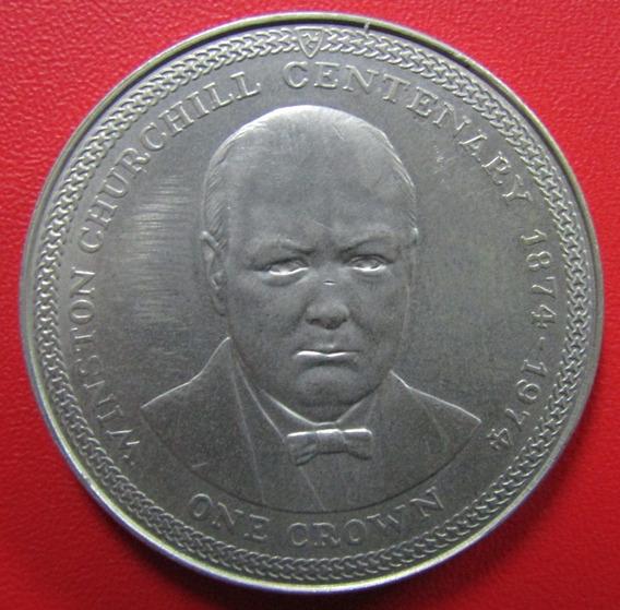 Isla De Man Moneda 1 Crown 1974 Unc 100º Aniv Churchill