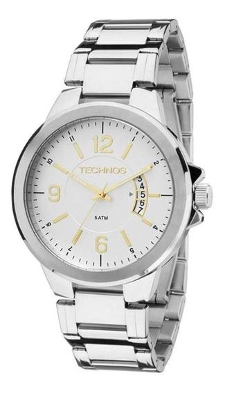 Relógio Technos Masculino Aço Branco 2115ksk/1c