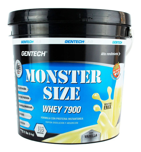 Whey Protein Monster Size 7900 Gentech 5 Kg Sin Tacc
