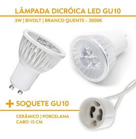 Kit 20 Lâmpadas Led Dicroica 3w Gu10 3000k + Soquete Gu10