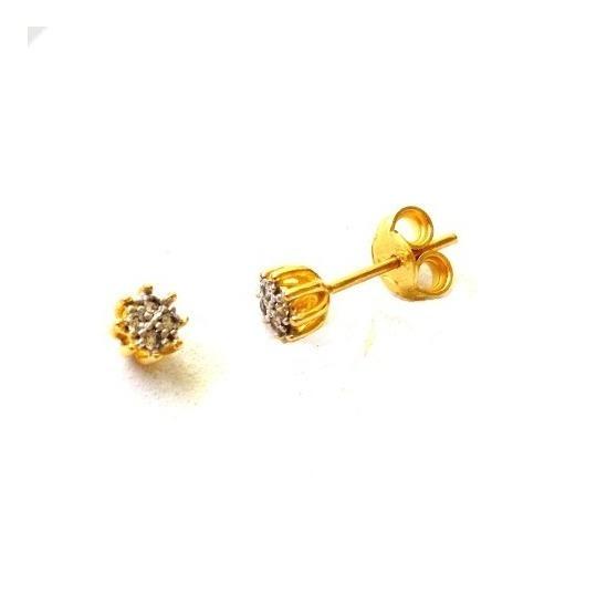 Brinco Chuveiro De Ouro 750 + Diamantes Naturais U18