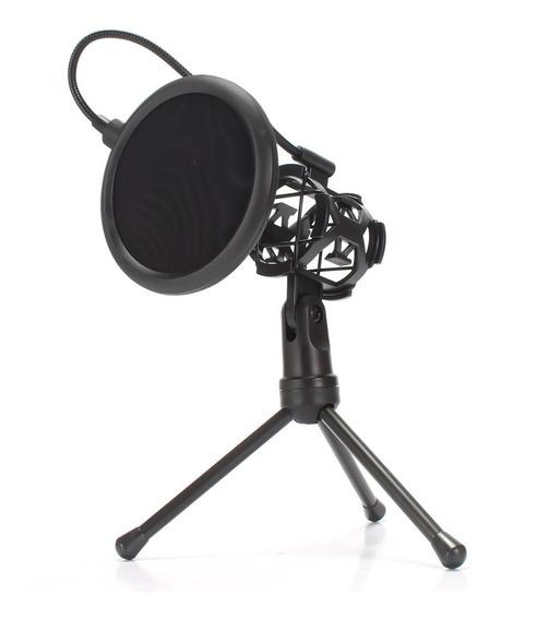 Mini Pop Filter Suporte Aranha Tripé Microfone Articulado