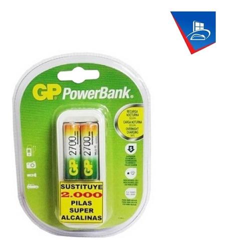 Imagen 1 de 1 de Cargador + Pilas Baterias Recargables Gp Aa 2700 Mah 2 Unid