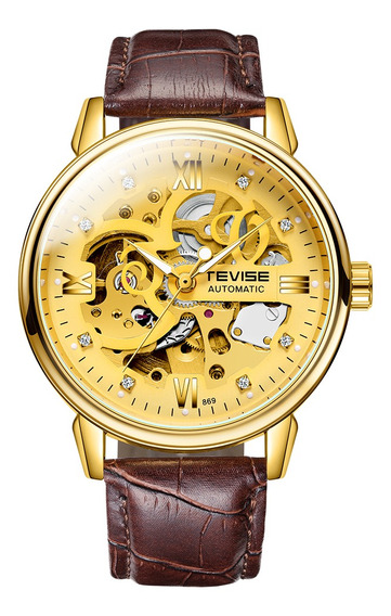 Tevise Homens Relógios Mecânico Automático Relógio Esque