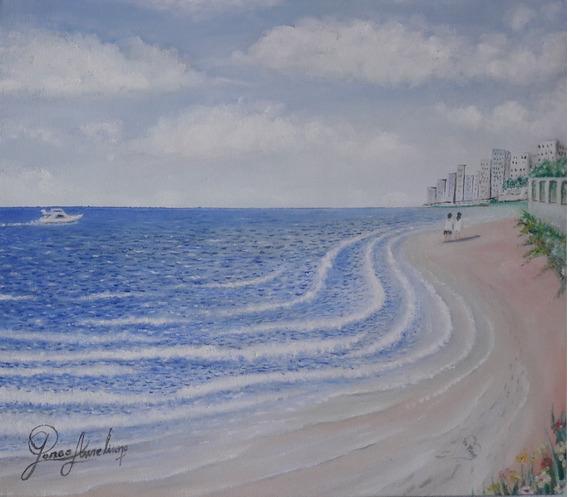 J. A. Belas Artes! Passeio Na Praia (pintura A Óleo) Lindo!