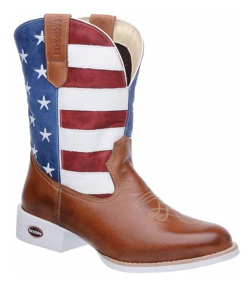Bota Texana Americana Eua Masculina Sola Branca Montaria
