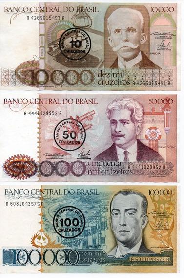 Lote Série Cédulas Cruzeiros Cruzados Nota Dinheiro Antigo