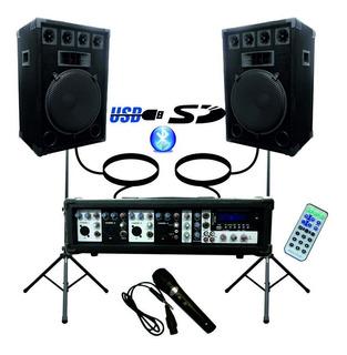 Combo Consola Potenciada 5 Canales 200w Usb 2 Bafles 15 +mic