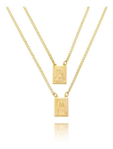Imagem 1 de 3 de Escapulário Masculino Cruz Nossa Senhora Banhado Ouro