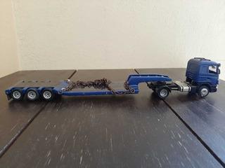 Scania, R420 Cavalo Azul Com Carreta Prancha Azul, Em Metal