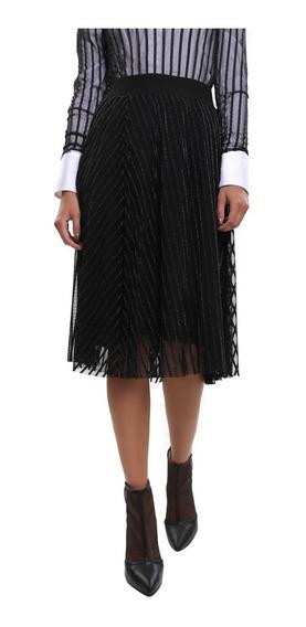 Falda Midi Mujer Mesh Con Jaquard Elástico En Cintura Lob