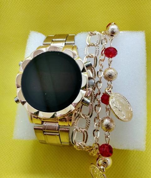 Relógio Feminino Digital Dourado Led Pulseira Brinde