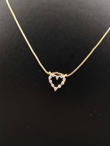 Colar Banhado À Ouro 18k Coração Cravejado Com Zircônia 5mm