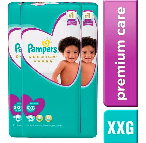3 Paquetes Pañales Pampers Premium Care 180u. Talla Xxg