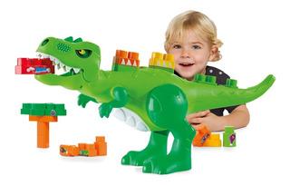 Juguete Dino Jurásico Gigante Bloques 30pz Babymovil Full
