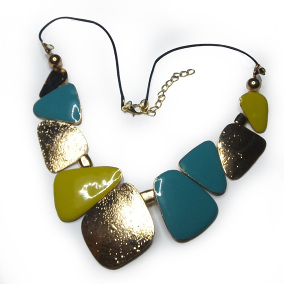 Colar Esmaltado Turquesa Verde Metal Dourado Cordão Encerado