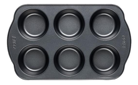 Molde Para 6muffins Ekco Evolution De Acero Inoxidable Negro