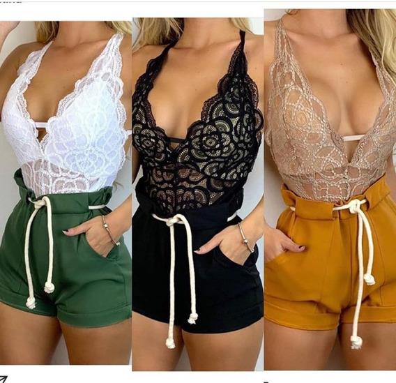 Conjunto Body Renda+shorts Cordao Cintura Alta Bengaline