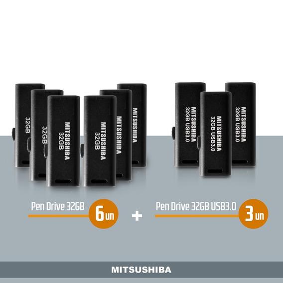 Kit Pen Drive 32gb 6pcs + 32gb(usb 3.0) 3pcs Mitsushiba
