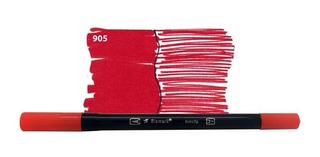 Caneta Pincel Bismark Dual Brush Dualtip Vermelho 27047