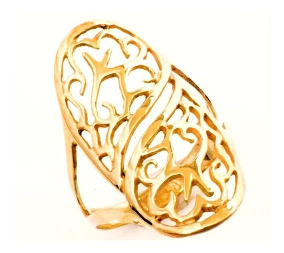 Anel Feminino Ouro 18k Floral Vazado + Porta Joias 0022