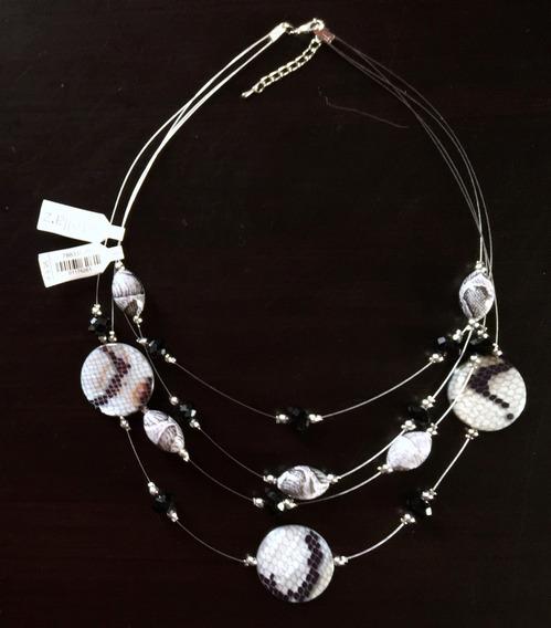 Collar Italiano, Negro Con Blanco. Cristal Mod. 261