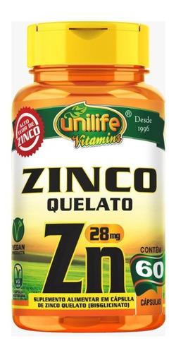 Zinco Quelato Zn 500mg - 60 Cápsulas - Unilife Vitamins