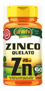 Zinco Quelato Zn 500mg - 60 Cápsulas - Unilife Vitamins
