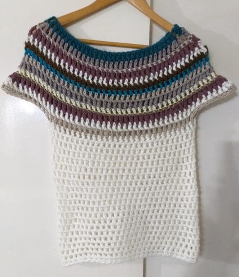 Sweater Lana Mujer Calado.cuello Jaquelin Impecable M