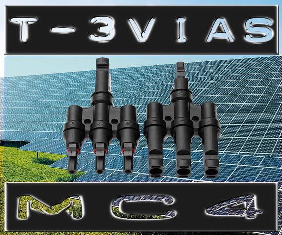 Par Adaptador Mc4 T Triplo 3 Vias Conector Painel Solar