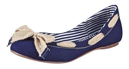 Zapato Casual Para Dama Azul Mezclilla Con Moño Decorativo