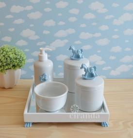 Kit Higiene Porcelana Bebe Saboneteira Coroa Flor Liz Cavalo
