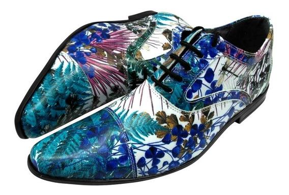 Sapato Masculino Em Couro Tropical Floral Retrô Ref: 499