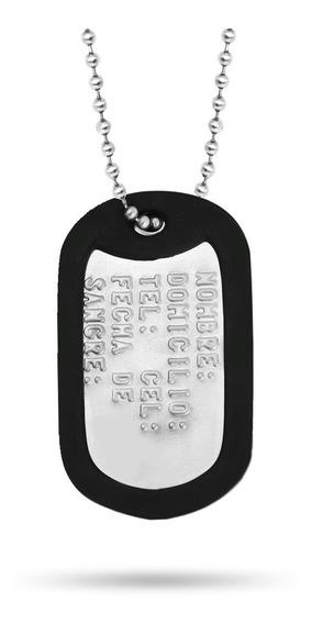 Dog Tag Placa Identificación Militar Army Con Goma + Regalo