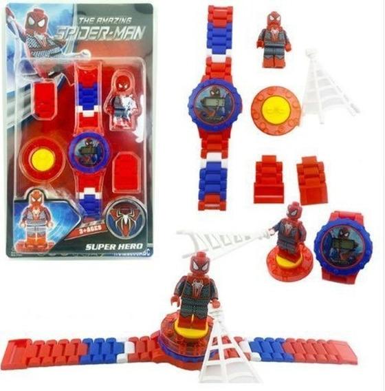 Relógio + Lego Homem Aranha Bloco Montar Digital P Entrega