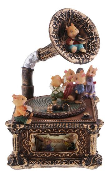 Caja De Música Resina Retro Diseño De Gramófono Regalo De