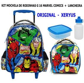 Kit Mochila De Rodinhas Marvel Comics 16 + Lancheira Xeryus