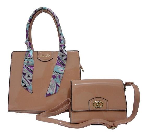 Lindo Conjunto 2 Bolsas Femininas Em Verniz