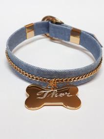 Coleira Pet Cachorro - Jeans Corrente - Personalizada