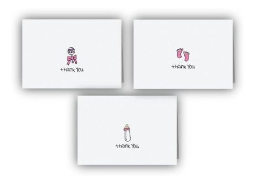 Imagen 1 de 4 de Colección De Tarjetas De Agradecimiento De Bebé Rosa - 24 Ta