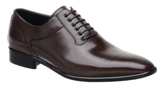 Sapato Social Malbork Em Couro Marrom Com Cadarço Li-08