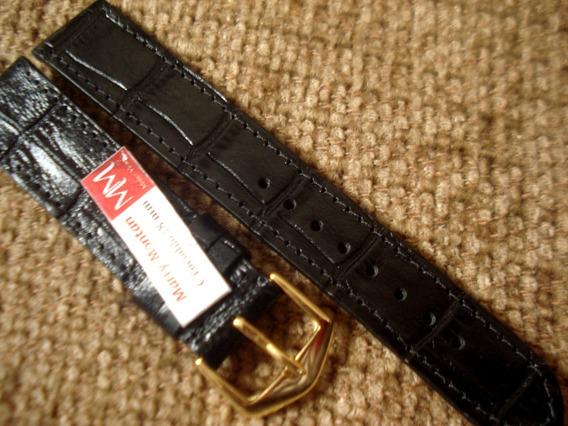 Pulseira 18 Mm Relógio Pulso Couro Legítimo Tipo Croco Preta
