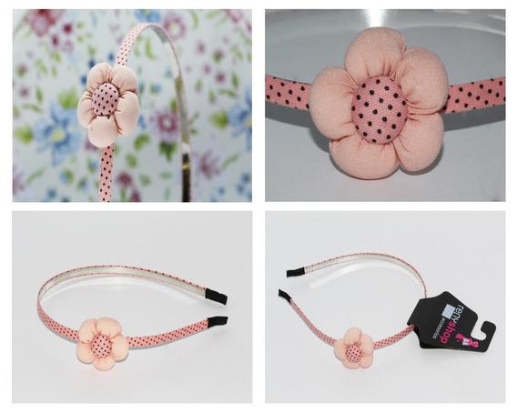 Diadema Dama Mujer Niña Vintage Flor Rosa Y Rosa Claro Dia07