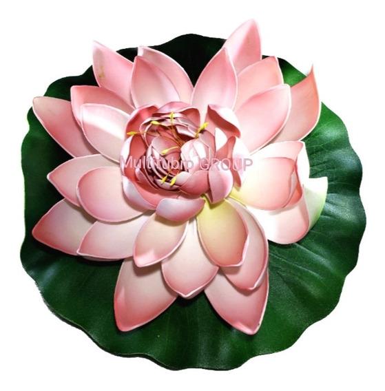 Flor De Loto Grande Artificial Flotante Varios Colores