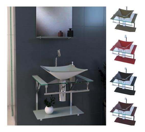 Gabinete De Vidro E Inox 40cm Para Banheiro | Várias Cores