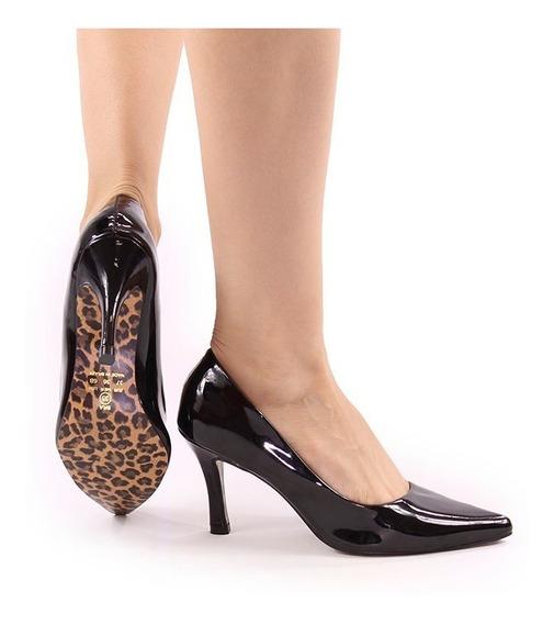 Sapato Feminino Scarpin Luxo Confort Bico Fino Preto Verniz